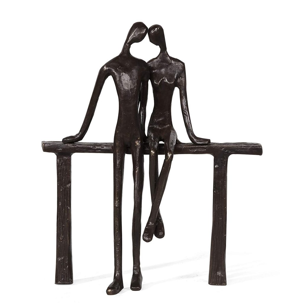 Romantic Couple Reclining on Bench Bronze Sculpture
