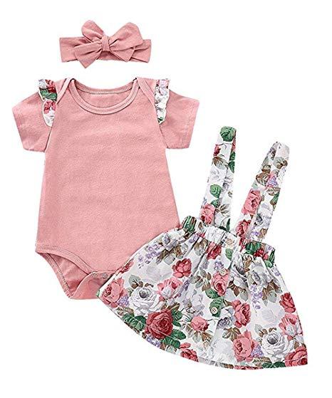 Short Sleeve Ruffle Romper Suspender Floral Skirt