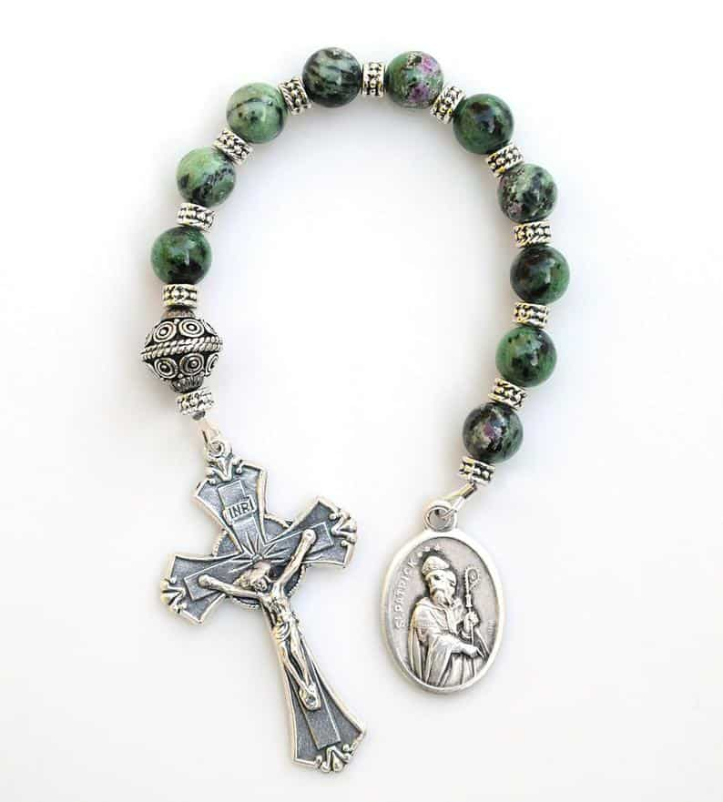 Green and Ruby Gemstone Rosary Chaplet a confirmation gifts boy