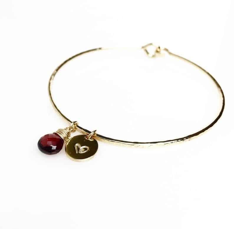 Petite Red Garnet Charm Bracelet