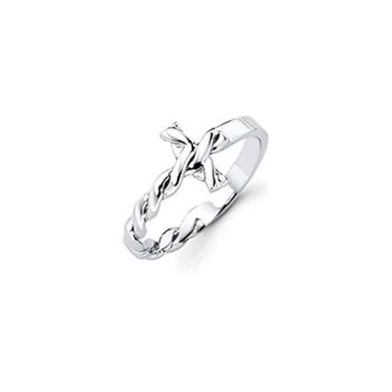 Silver Twisted Cross Ring