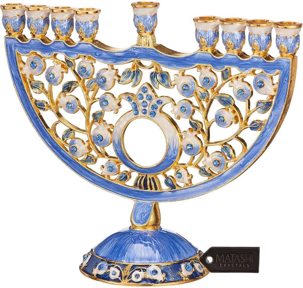 Crystals Jewish Candle Holder