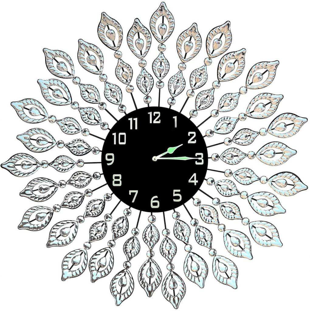 Decorative Leaf Metal Wall Clock