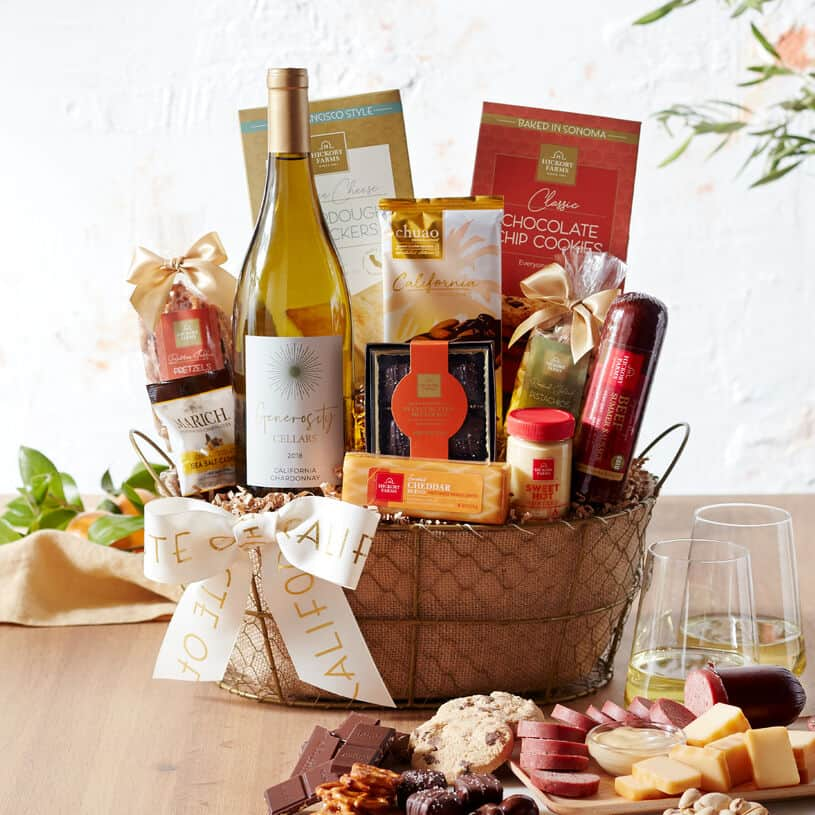 Gift Hamper with Food and Wine